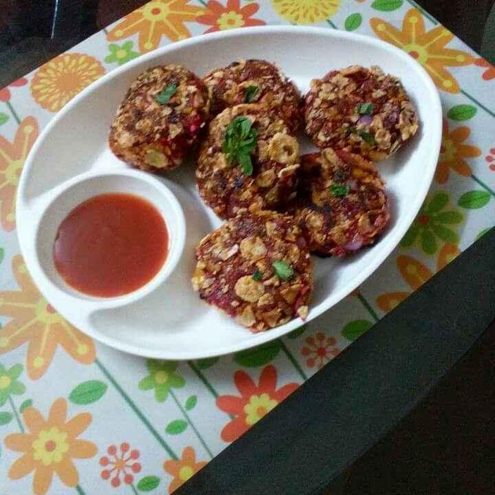 Photo of Beetroot cornflakes tikki by Chandu Pugalia at BetterButter