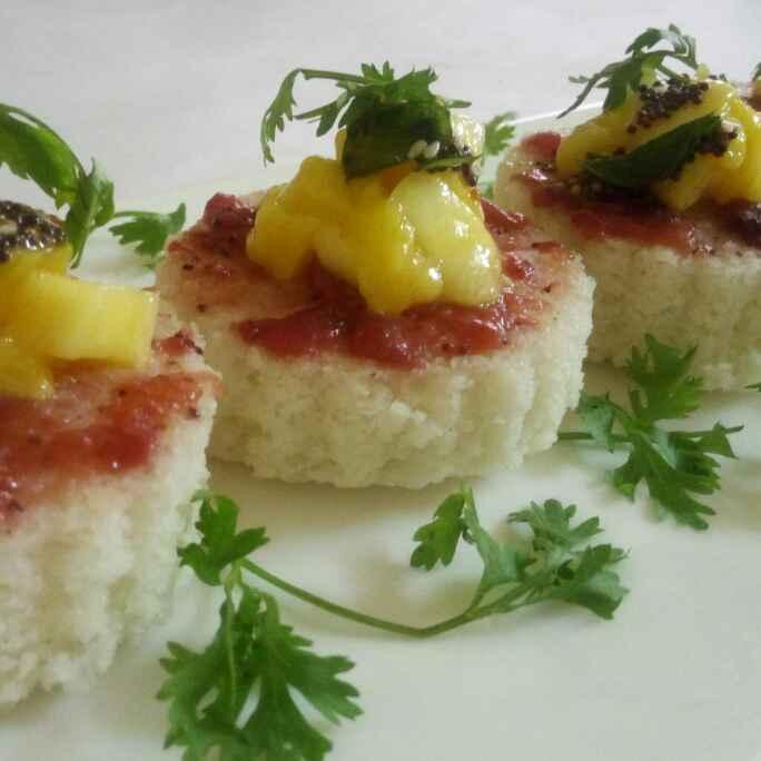 How to make Dhokla with plum sauce and mango