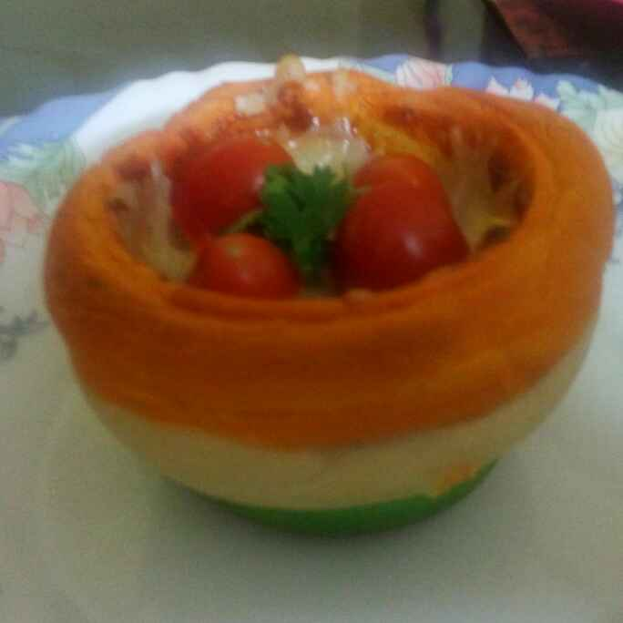 How to make Tricolour pizza cup