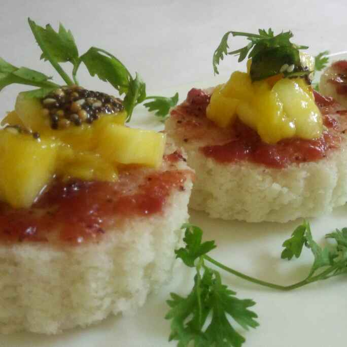 How to make Curd dhokla with plum sauce and mango