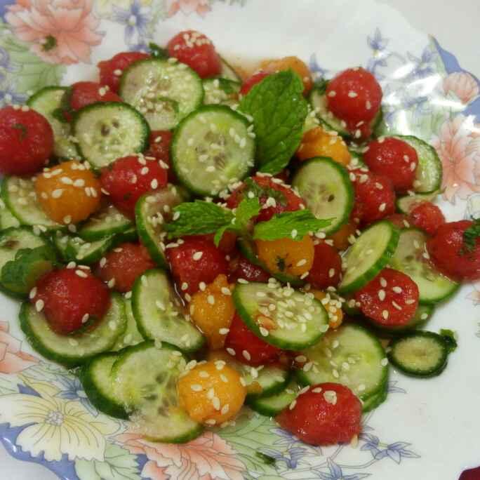 Photo of watermelon and cucumber salad by Chandu Pugalia at BetterButter