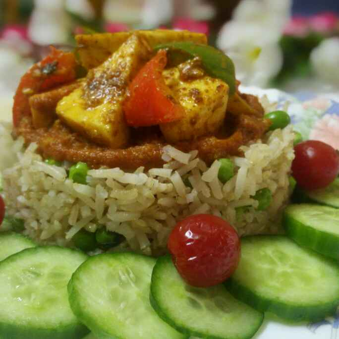 How to make Brown rice with paneer tikka