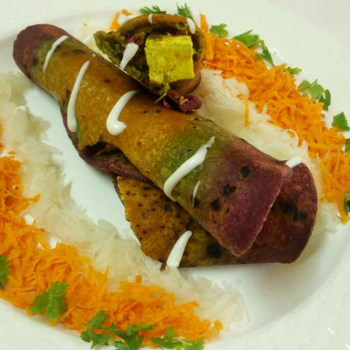 Photo of Palak beet carrot paneer roll with mayo and salad by Chandu Pugalia at BetterButter