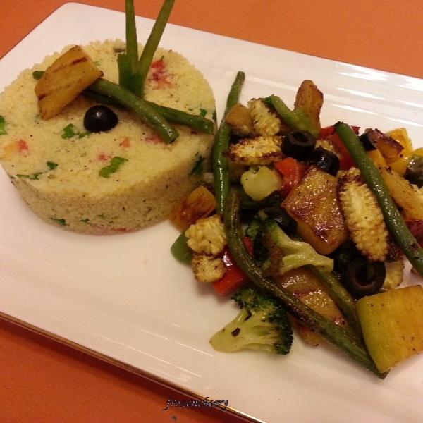 How to make Couscous Salad with Grilled Vegetables in Honey Vinaigrette Dressing