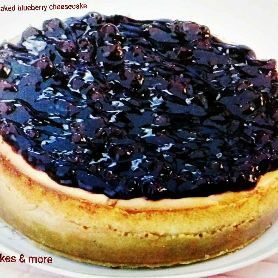 Photo of Eggless Baked blueberry cheesecake by Aarti Nijapkar at BetterButter