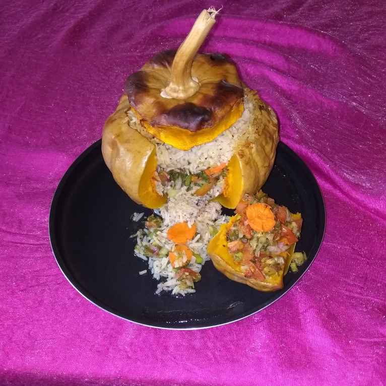 Photo of Fish and rice stuffed in pumpkin by Chirashree Bagchi at BetterButter