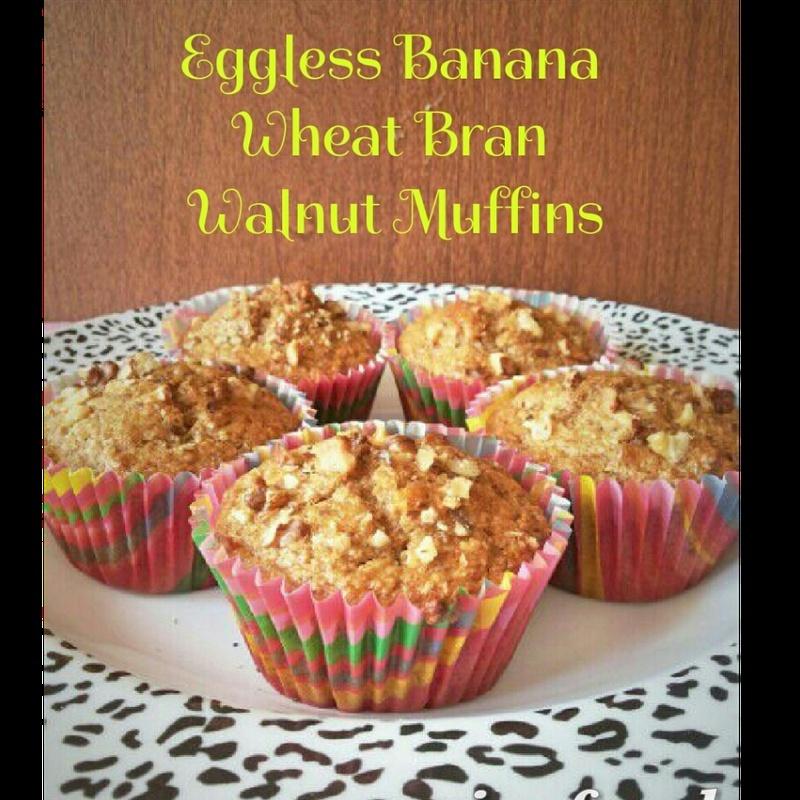 Photo of Eggless Banana Wheat Bran Walnut Muffins by manju shah at BetterButter