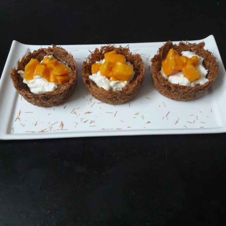 Photo of Vermicelli tart with fresh mango & Shrikhand by Debomita Chatterjee at BetterButter