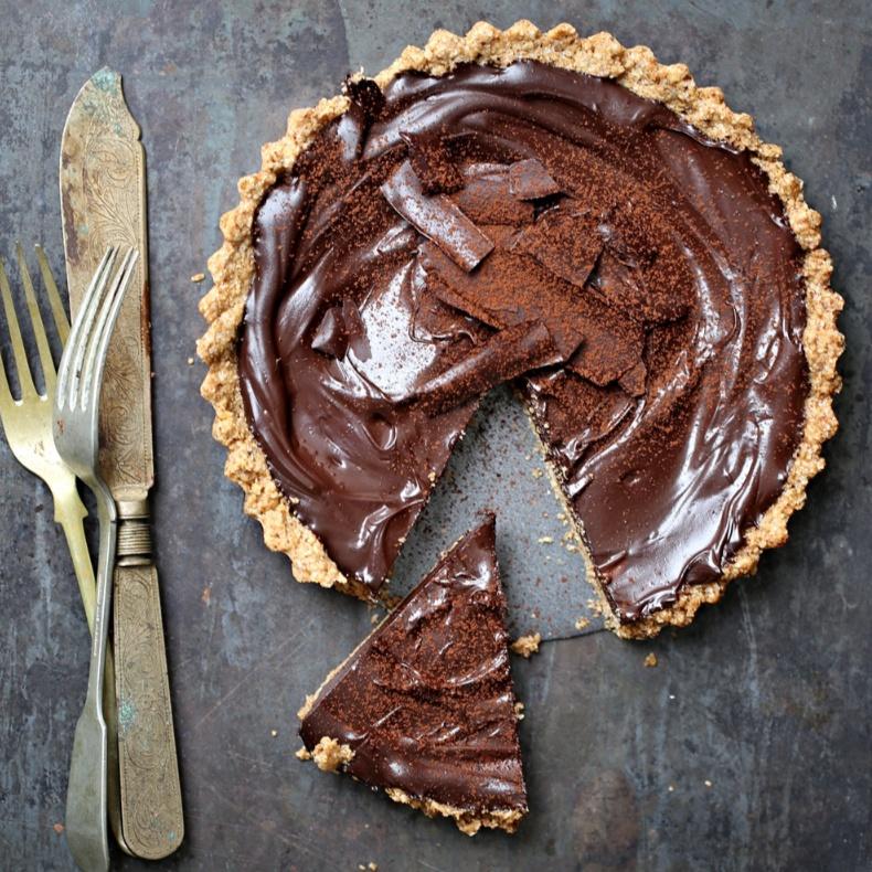 How to make Dark Chocolate Walnut Oat Tart
