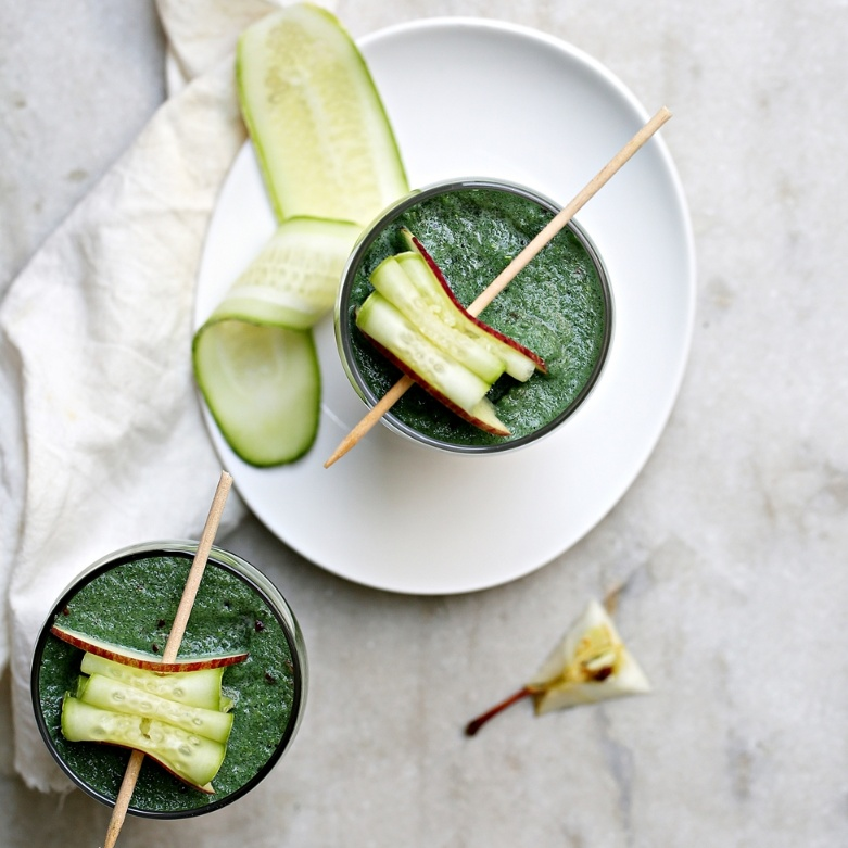 Photo of Green Goddess Apple Cucumber Coconut Water Smoothie with Spirulina by Deeba Rajpal at BetterButter
