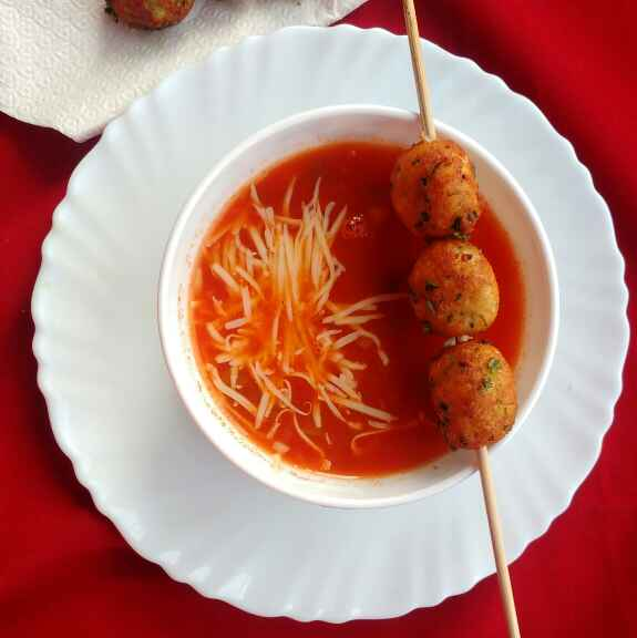 Photo of TOMATO SOUP WITH COTTAGE CHEESE BALLS by Deepa Rupani at BetterButter