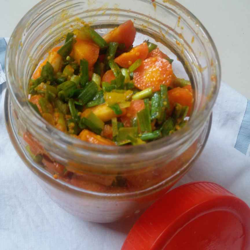 Photo of CARROT PICKLE WITH GREEN GARLIC by Deepa Totlani at BetterButter