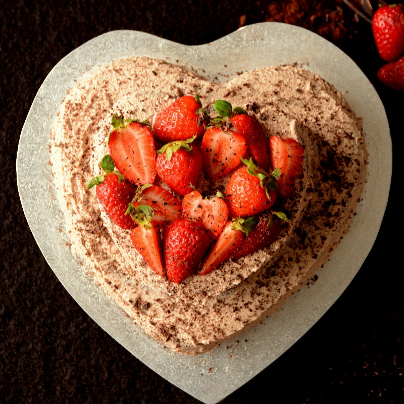 Photo of Chocolate Fudge Cake with Milk Chocolate Buttercream and Fresh Strawberries by Dhanya Samuel at BetterButter