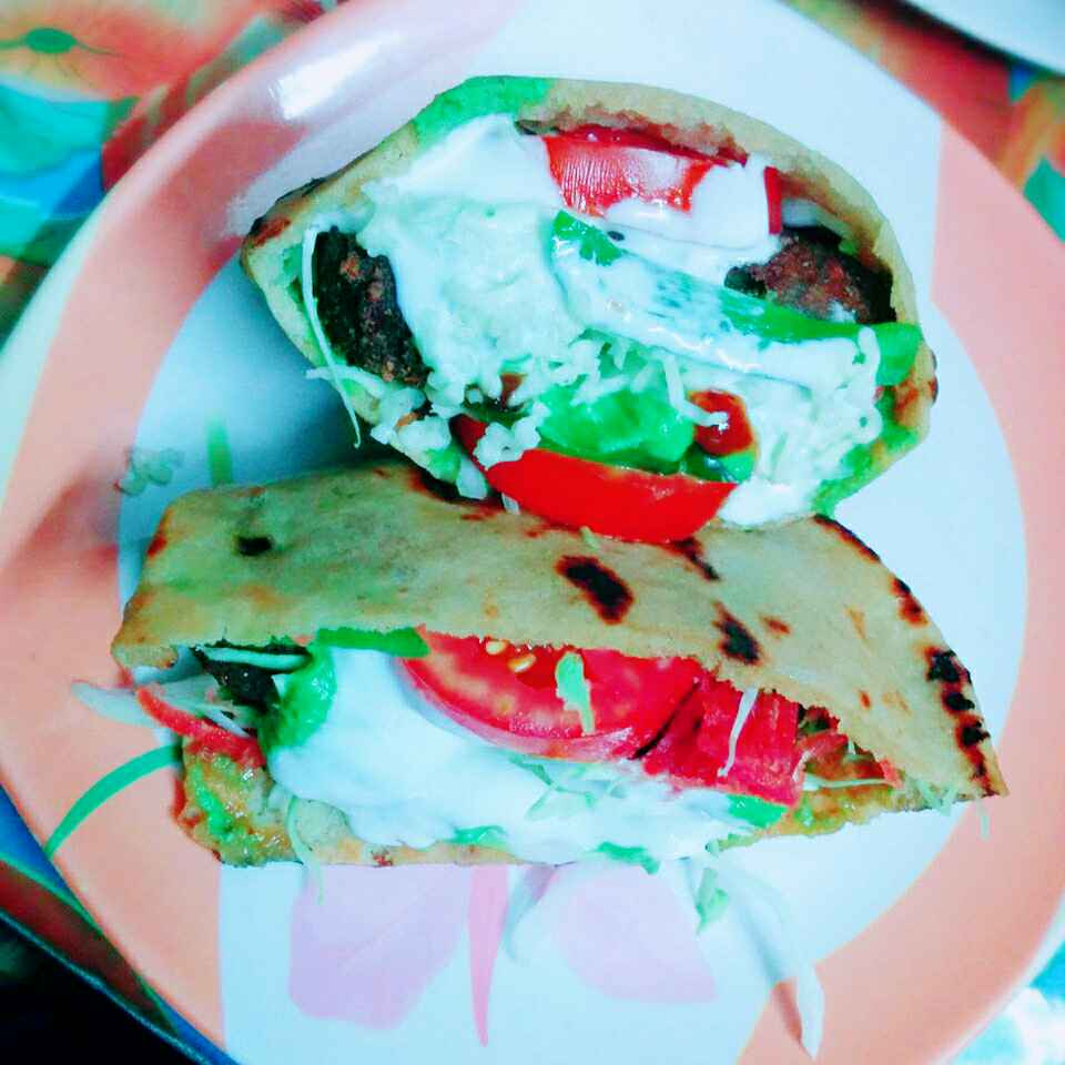 How to make Creamy and Cheesy falafel sandwich using homemade pita breads (Jain/No onion,No garlic) by Dhara Shah