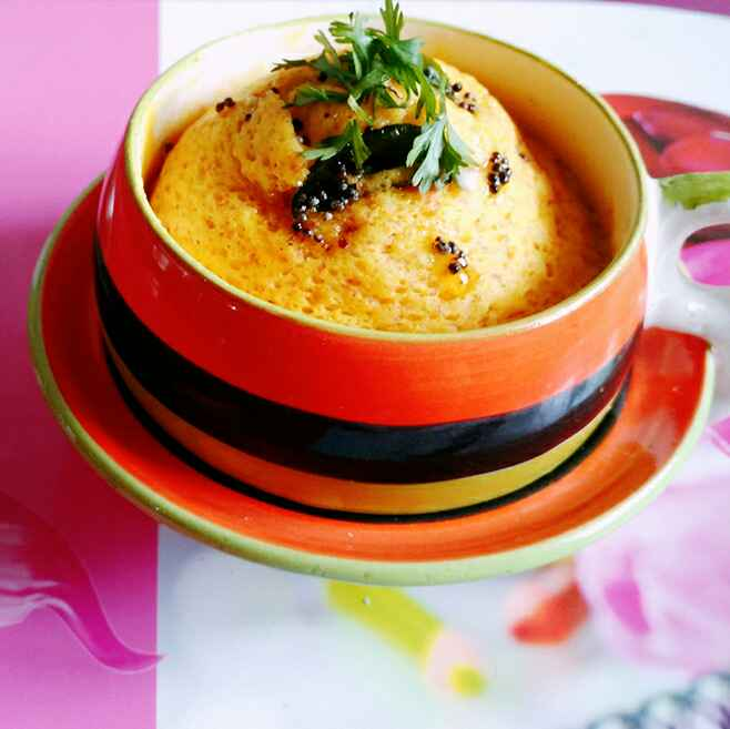 How to make 2 Minutes Microwave Khaman Dhokla in Mug!