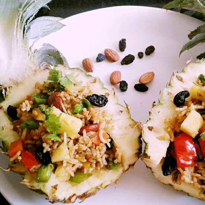 Photo of Thai Pineapple Vegetarian Fried Rice( No onion, No garlic) by Dhara Shah at BetterButter