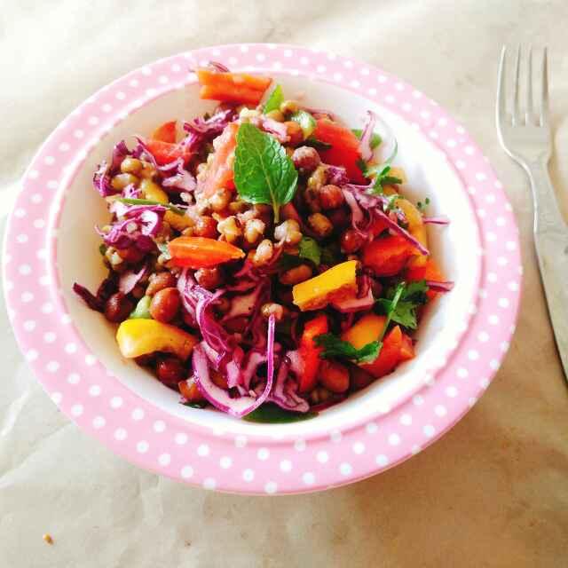 How to make Black chana and moong salad