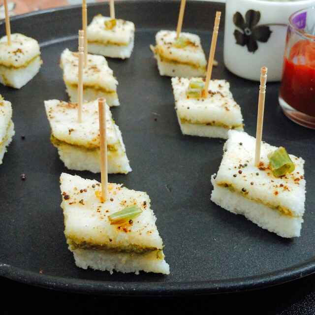 How to make Sandwich Dhokla using leftover Idli batter (Jain/