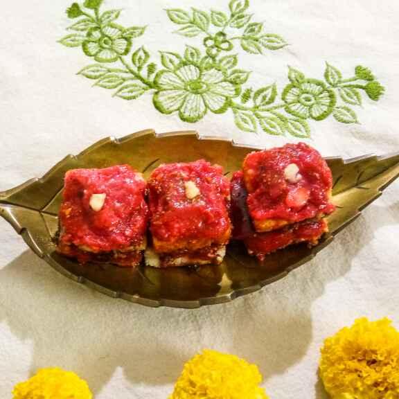 How to make Cherry halwa kalakand dipped in caramel sauce
