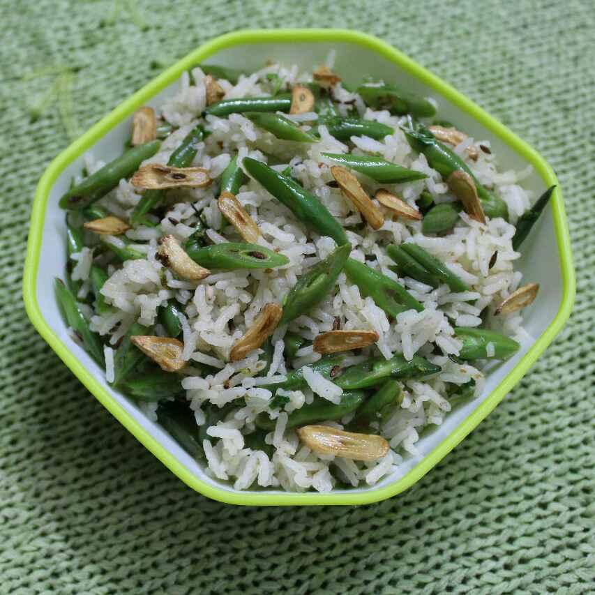 How to make Burnt Garlic Green Beans Rice