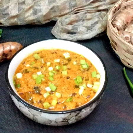 Photo of Fresh Turmeric & Spring Onion Sabzi (Kachchi Haldi Ki Sabzi) by Drashti Dholakia at BetterButter