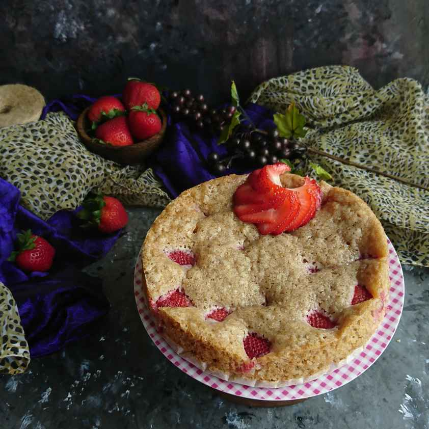 How to make Eggless Double Strawberry Cake