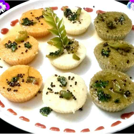 How to make Spinach Tomato Muffin Dhokla