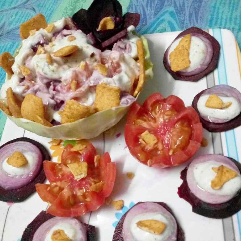 How to make Corn curd salad in cauliflower basket