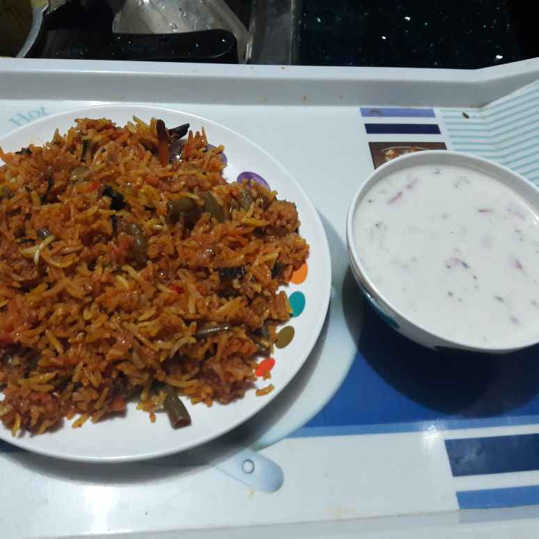 Photo of Veg biryani mix raite ke sath by Geeta Khurana at BetterButter