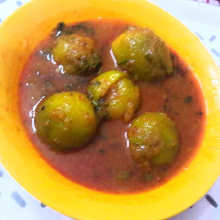 Photo of Stuffed chappan kadu in gravy.. by Geeta Khurana at BetterButter