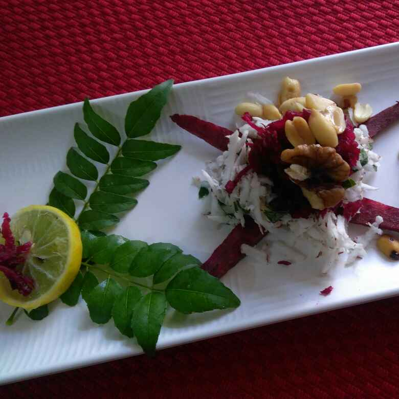Photo of Raw beetroot, coconut, peanut and walnut salad by Geeta Sachdev at BetterButter