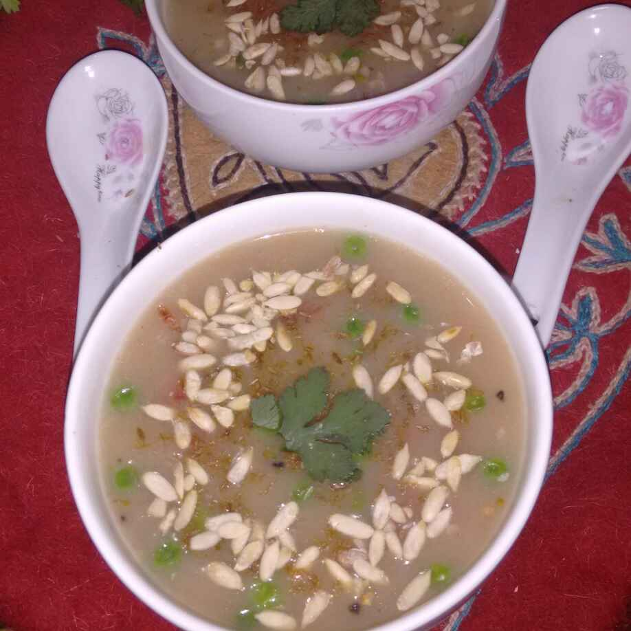 How to make OATS SOUP TOP UP WITH MELON SEEDS