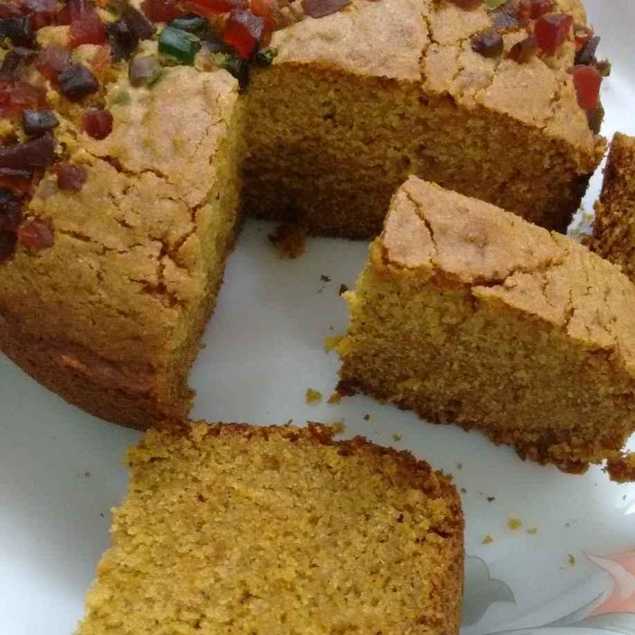 How to make Cornmeal Apple cinnamon  Eggless Cake