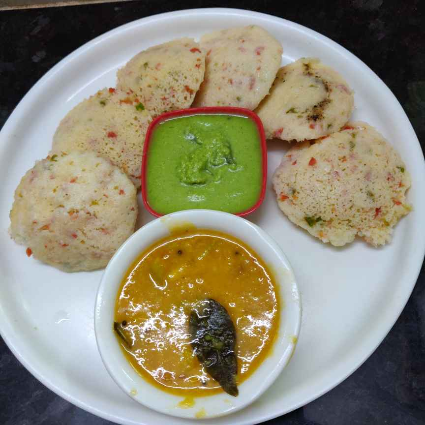 Photo of Suji idly with veggies by Geeta Virmani at BetterButter
