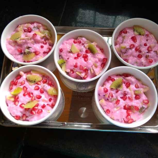 Photo of Fruit strawberry custard milk by hajirasheed haroon at BetterButter