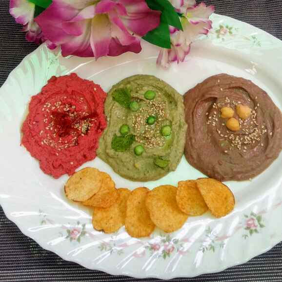 How to make A Trio Of Hummus ( Party dip platter)