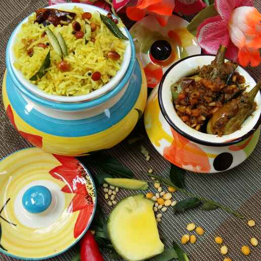 How to make Spicy Raw Mango rice with Chettinad stuffed brinjal fry