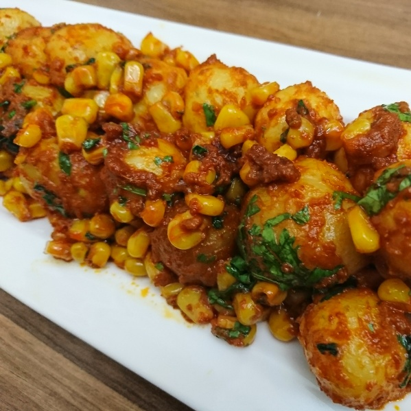 How to make Spicy Corn Aloo