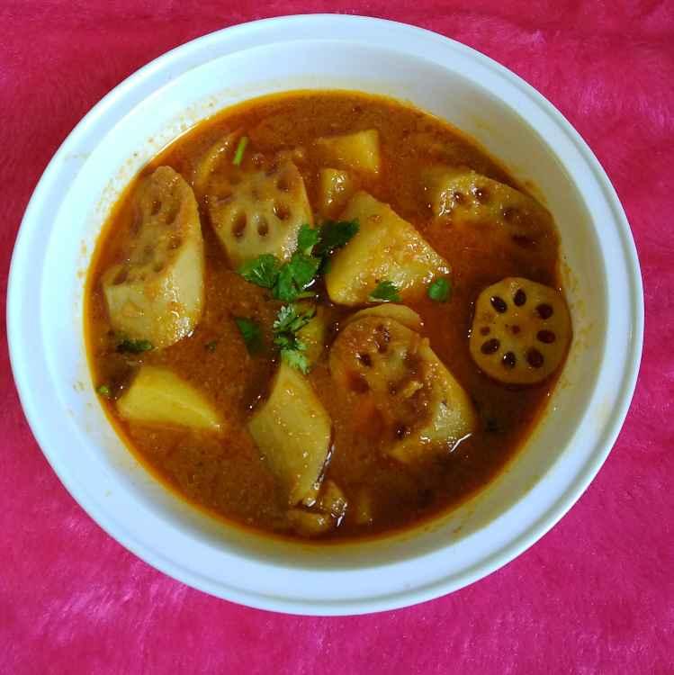 Photo of Lotus Stem Potato In Sindhi Gravy by Hanika Thadani at BetterButter