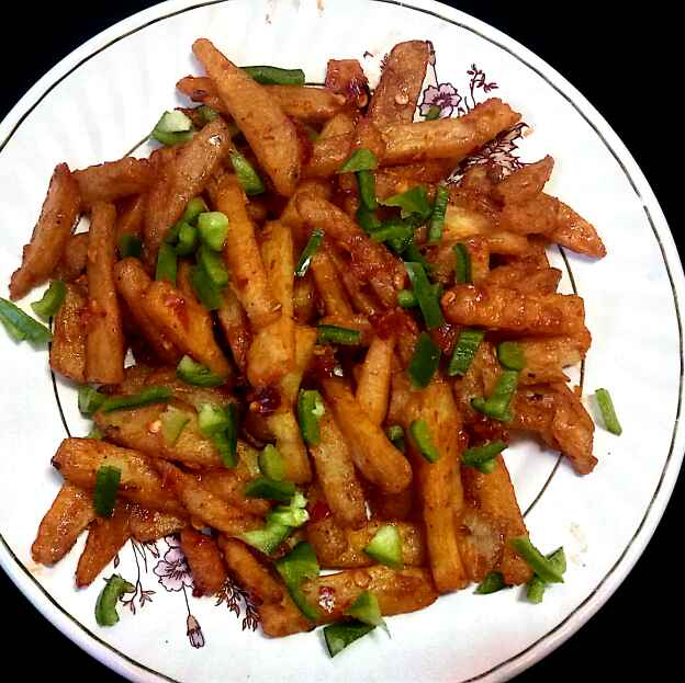 Photo of Chilly garlic shakkariya fries by Hetal Sevalia at BetterButter