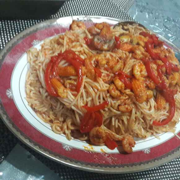 Photo of Prawns bell peppers spegatties by Huda Mulla at BetterButter