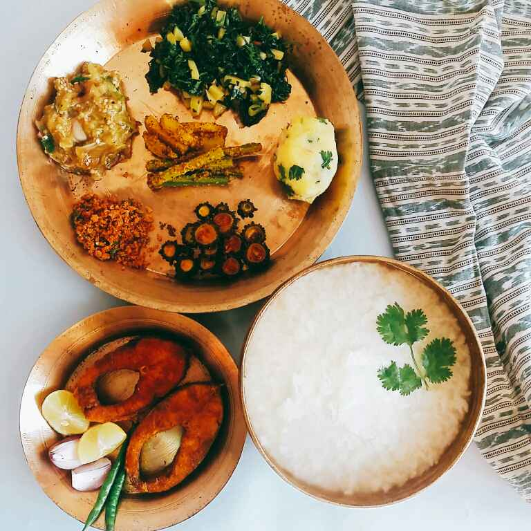 How to make Pakhala platter(water rice platter)