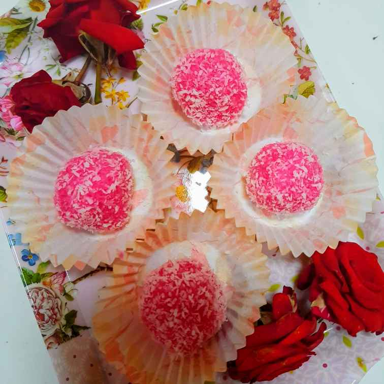 Photo of Rose dry coconut laddu by Indira Bhaskar at BetterButter