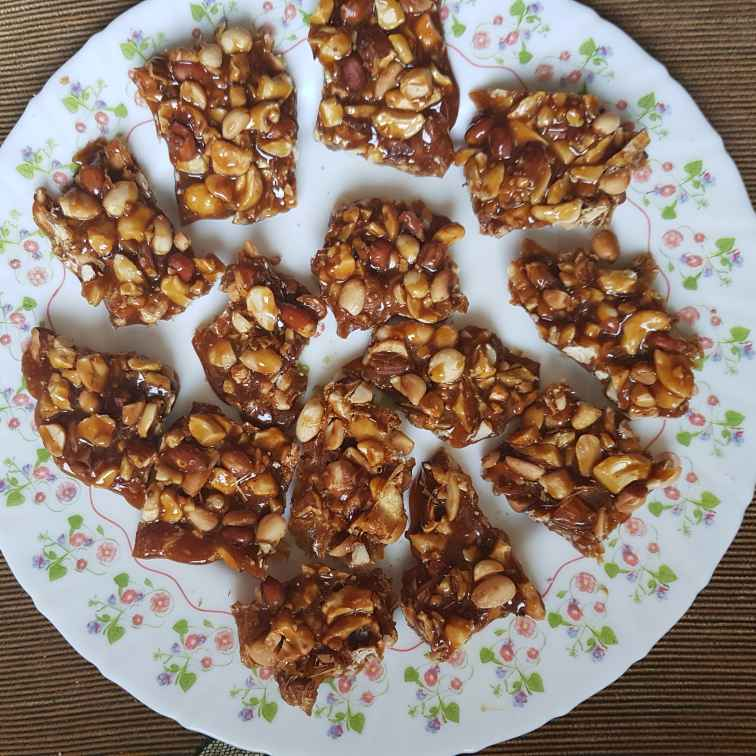 Photo of nuts caramel chikki by Indira Bhaskar at BetterButter