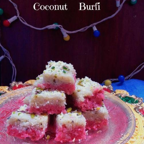How to make Double layered Coconut & Mawa Burfi
