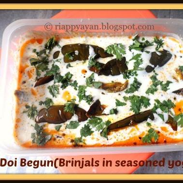How to make Doi Begun (Brinjal slices dipped in seasoned yogurt)