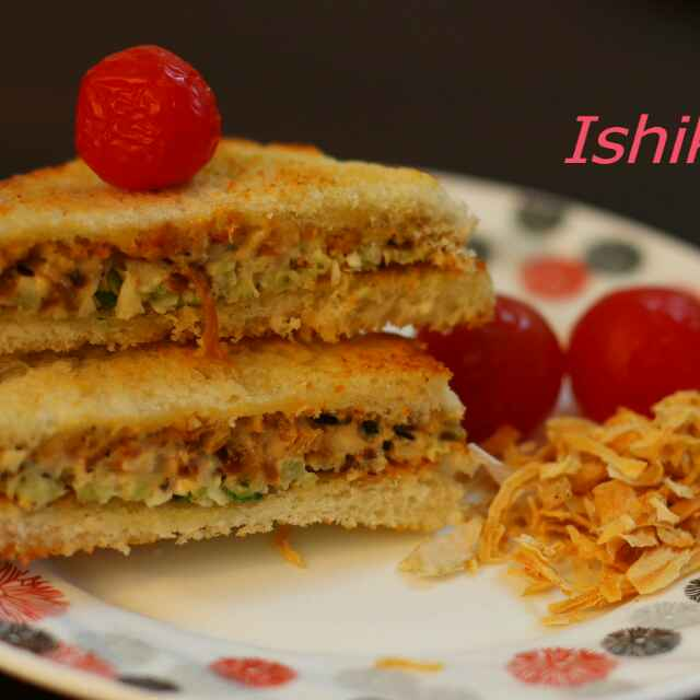 Photo of French toasted crunchy onion flakes sandwich with cherry tomatoes by Ishika Uppal at BetterButter