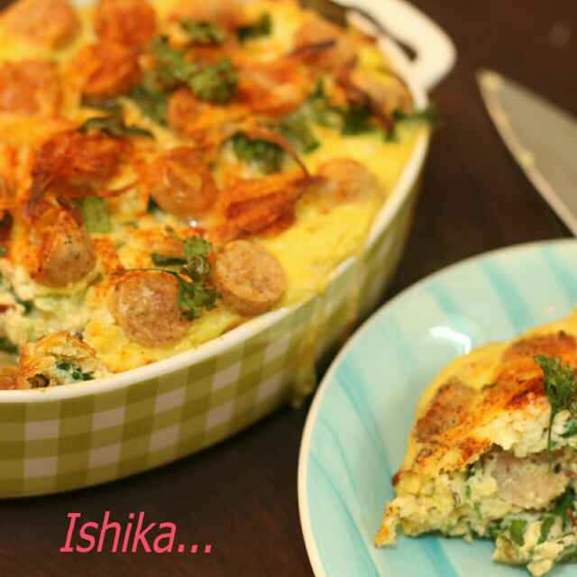 Photo of Sausage and Spinach Fritatta by Ishika Uppal at BetterButter