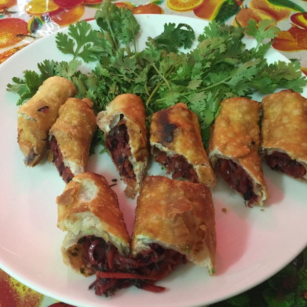 Photo of Red Spinach Beet Spring Roll by Jaleela Kamal at BetterButter