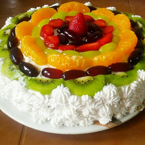 Photo of Eggless Fresh Cream Fruit Cake by Jaya Rajesh at BetterButter